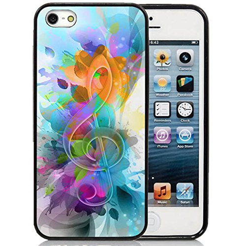 iPhone 5C Case,iPhone 5C Black Case, Dsigo TPU Full Cover Protective Case for New Apple iPhone 5C - The colorful world of music (Colorful Cases Iphone 5c)