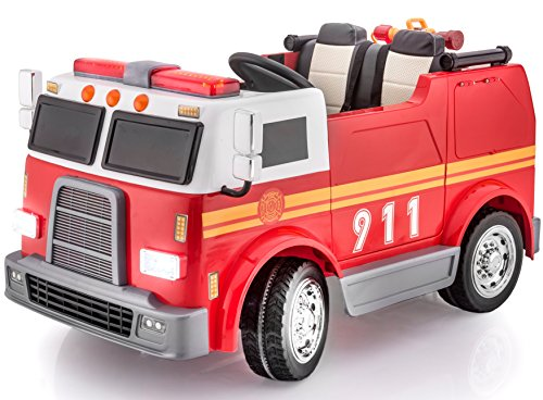KIDS VIP 2 Seats Big Premium Edition 12V Battery Powered Ride On Fire Truck Electric Toy Car For Kids - Leather Seat -4x4 - MP3 - RC Parental Remote Control -