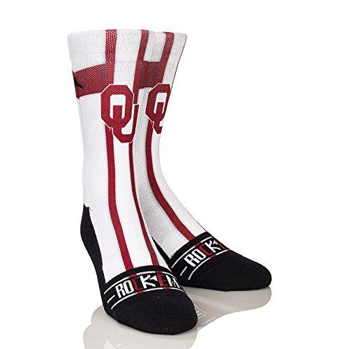 NCAA Oklahoma Sooners Jersey Series University Custom Athletic Crew Socks, Large/X-Large, White/Crimson
