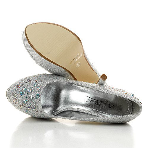 Realove10 Classique Strass Glittery Jeweled Plateforme Pompe Argent Glt