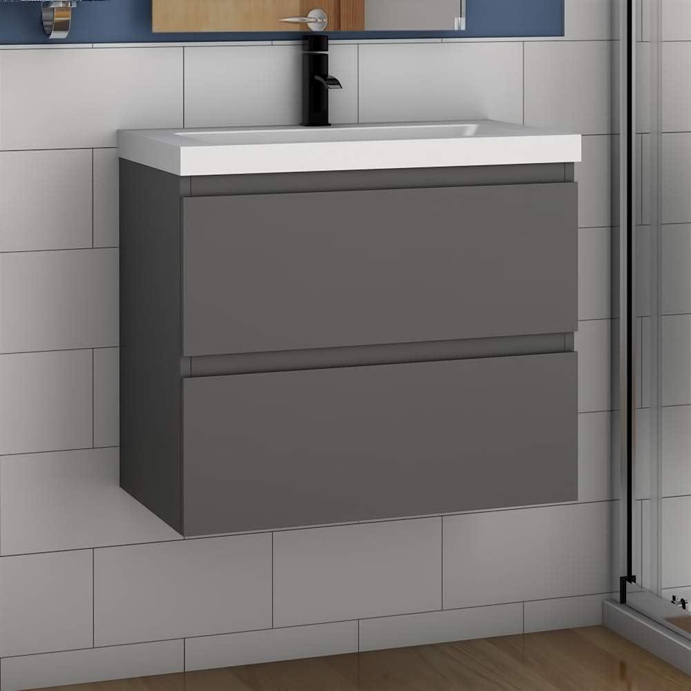 Badm/öbel Set 50 cm Aalst Vormontieren Unterschrank Waschbecken Waschtisch Anthrazit