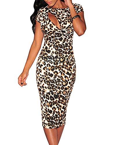 Cfanny Women's Cutout Chest Leopard Print Midi Bodycon - Leopard Sexy Dress Print