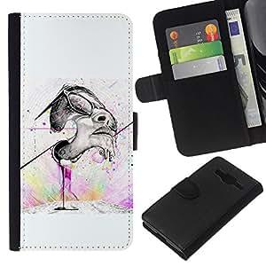 A-type (Cara pintada Street Art) Colorida Impresión Funda Cuero Monedero Caja Bolsa Cubierta Caja Piel Card Slots Para Samsung Galaxy Core Prime