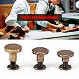 GLOGLOW 20pcs Flat Head Rivets, Copper Brass Screws Rivnut Anti-Rust Nuts Nails Rivets Leather Cap Accessory Kit for DIY or Repairing