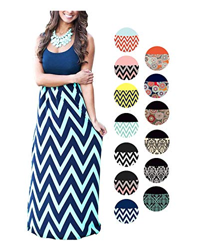 HanDanGe Women's Summer Chevron Striped Print Dress Tank Long Maxi Dresses For Women Navy-S