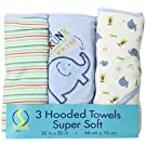 Spasilk Soft Terry Hooded Towel Set, Blue Elephant, 3-Count