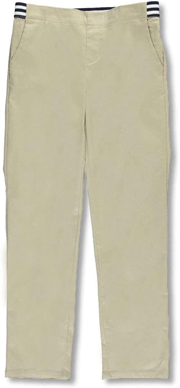 French Toast Big Girls' Pull-On Contrast Waist Pants - Khaki, 10 51WDPYHiAyL