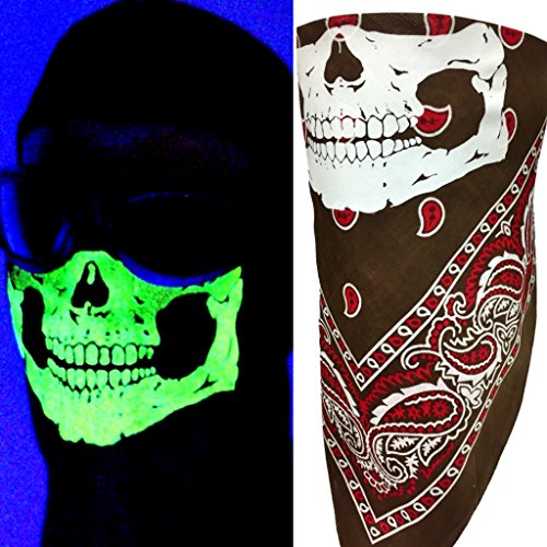 Face Motorcycle Graphic Mask (Reversible Glow In The Dark No Fangs Skull Brown Paisley VELCROBrand Adjustable Close Bandanna Mask Face Cover Reversible Dust, Bug Sun Blocker)