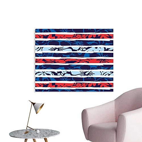 J Chief Sky Exotic Girls Wall Art Canvas Prints Tropical Hibiscus Flower Beach Theme Vivid Color Scheme Floral Arrangement Wall Art Living Room Decoration W24 xL16