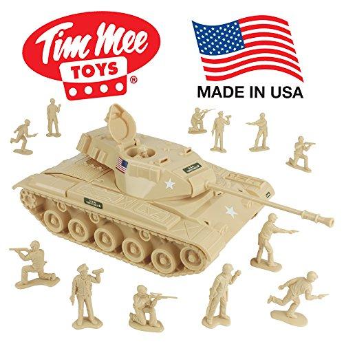 (TimMee Toy Walker Bulldog Tank Playset- Desert Tan 13pc - Made in USA)