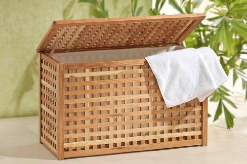 Wäschetruhe breite Wäschebox mit Leinensack Walnuss Holz