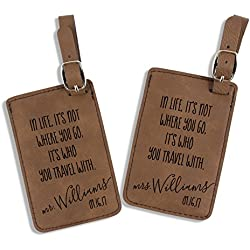 Mrs. MyLaurie Mr and Mrs Luggage Tags - Wedding Gift - Travel Quote Luggage Tags - Personalized - Honeymoon - His and Hers Luggage Tags - Bag Tags (Dark Brown)