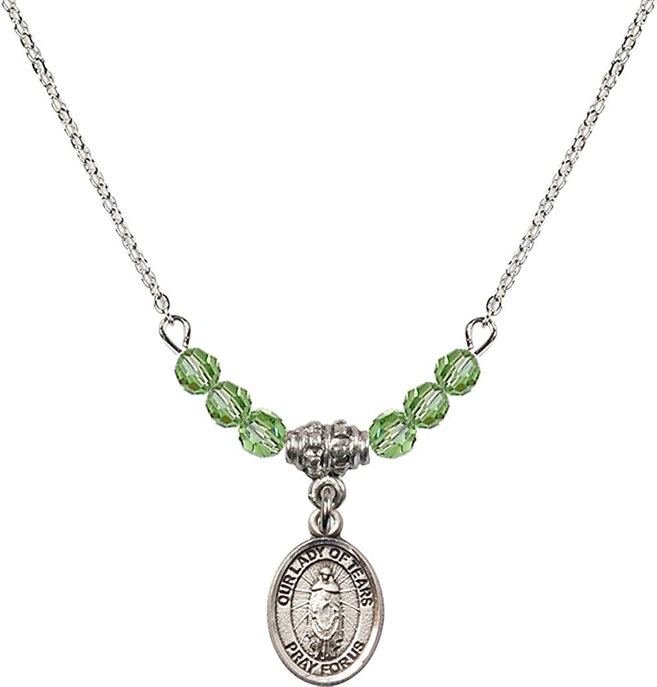 18-Inch Rhodium Plated Necklace with 4mm Peridot Birthstone Beads and Sterling Silver Our Lady of Tears Charm.