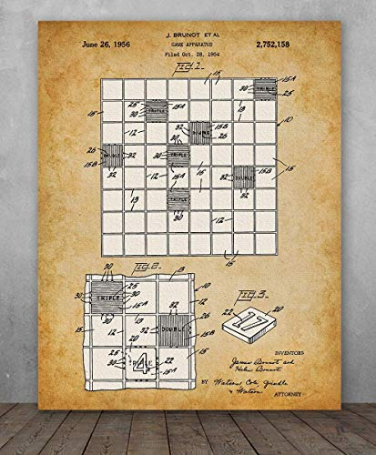 Poster - Scrabble Game Patent - Choose Unframed Poster or Canvas - Makes a Great Gift for Game Room Decor ()