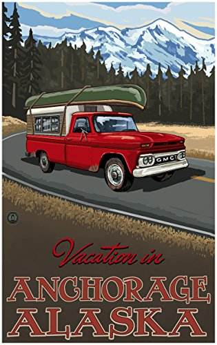 Vacation In Anchorage Alaska Pickup Road Trip Snow Travel Art Print Poster by Paul A. Lanquist (30