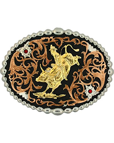Montana Silversmiths Men's Tri-Color Bull Rider Attitude Belt Buckle Multi One - Buckle Belt Multi