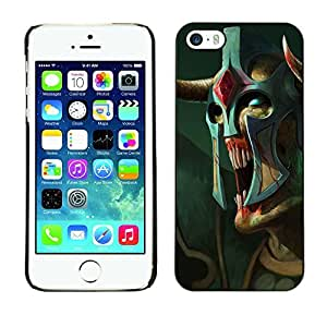 Colorful Printed Hard Protective Back Case Cover Shell Skin for Apple iPhone 5 / iPhone 5S ( Monster Alien Warrior Art Mask Blue Eyes )