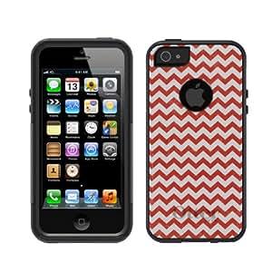 iPhone 5 5S Black Otterbox Commuter Series Chevron Red & White