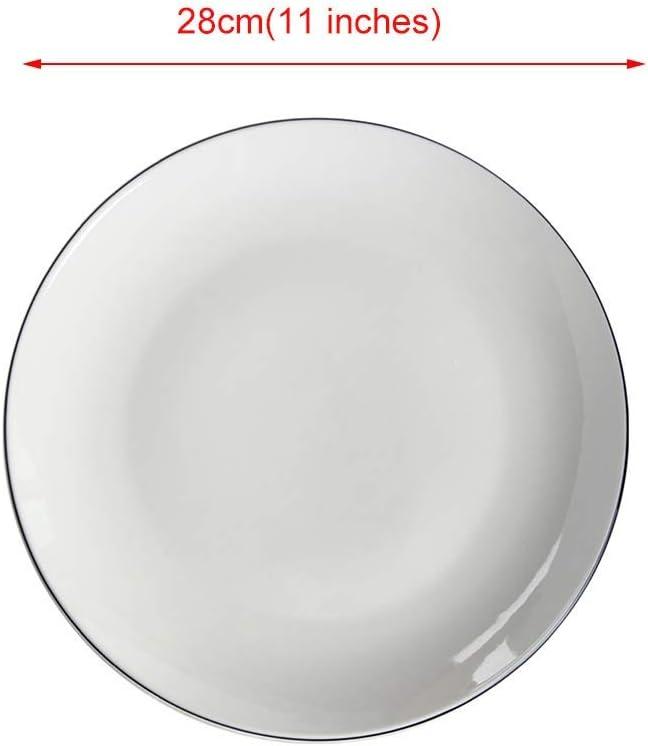 PLEASUR Platos de Ensalada Vajilla de Cocina Plato de Comida Bandeja de Cubiertos del hogar Plato Occidental Plato de Pizza de Verduras Plato de Carne (Color: Blanco, Tamaño: 28cm * 3cm): Amazon.es: