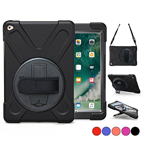 2nd Apple - iPad Air 2 Case (2014 Release), TSQ Heavy Duty Carrying Protective Case With 360 Degree Stand, Handle Hand Grip & Shoulder Strap, For Apple Tablet Air 2nd Gen Cover Skin For Kids A1566 A1567 Black