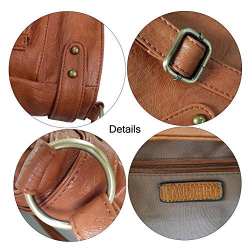 FanCarry Washed Soft PU Leather Crossbody Purse Multi Pocket Shoulder Satchel Bags for Women (Dark Orange-upgraded) by FanCarry (Image #6)