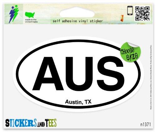 AUS Austin TX Oval Vinyl Car Bumper Window Sticker 5