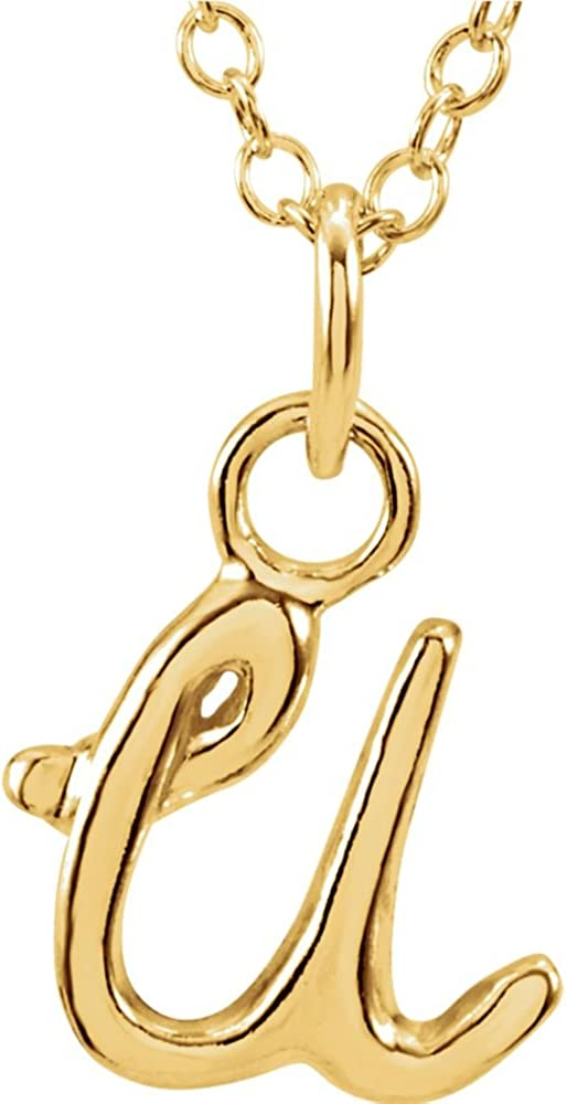 14K Yellow Gold LetterU Lowercase Script Initial Necklace