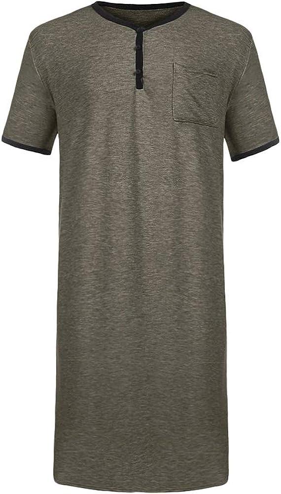 Ryannology Mens Cotton Nightshirts Short Sleeve Sleepwear Henley Neck Stretchy Comfy Long Nightgown Nightwear