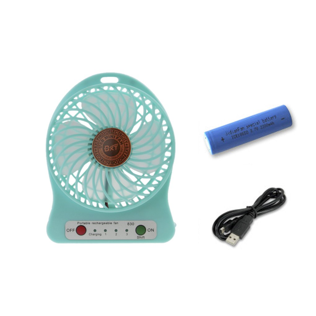Portable 3 Speeds Rechargeable Mini USB Fan Powered by USB Port / Battery Lightweight Handheld PC Laptop Desktop Cooling Table Desk Small Fan for Home,Office,Dormitories,Camping,Cycling,Travel,Picnic