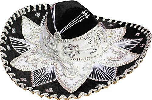 Authentic Mariachi Flowers Style Hat Fancy Premium Mexican Sombrero Charro Hats Made in Mexico (Choose Size & Color) (Adult Men, -