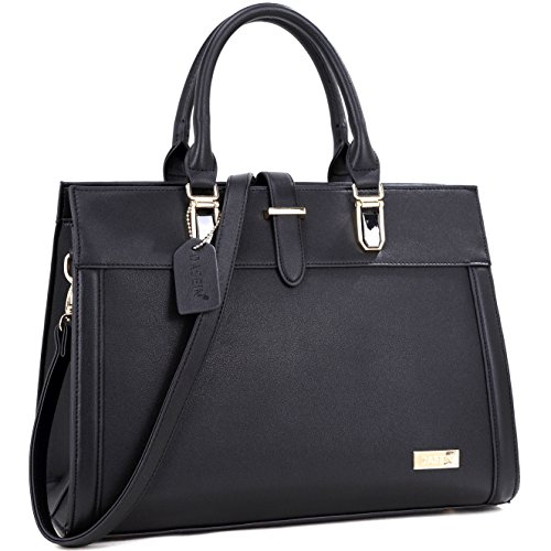 Dasein Designer Top Handle Faux Leather Work Satchel, Shoulder Bag, Handbag, Tablet Bag, iPad Bag (8185- Black)