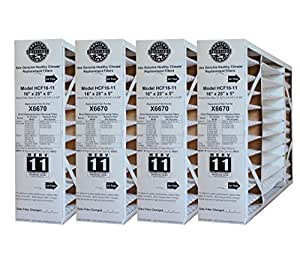 """Lennox Healthy Climate 16x25x5 X6670 MERV 11 Filter-Actual Size 15 3/4"""" x 24 3/4"""" x 4 3/8""""; PACK OF 4 FILTERS; PRIME OEM PRODUCT"""