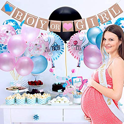 """36/"""" Balloon Gender Reveal Baby Shower Party Supplies Mommy to Be Sash Pink and Blue Confetti Banner and Photo Props Pack"""