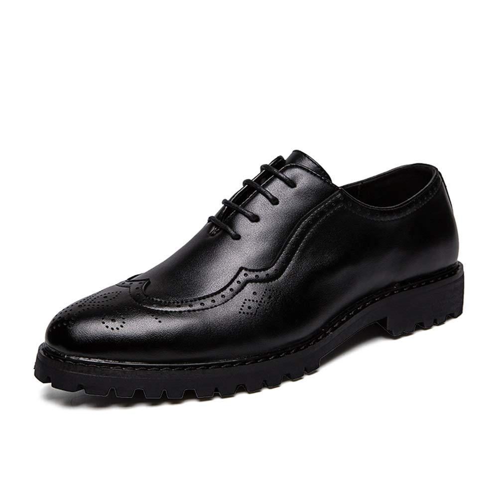 HYF Mens Oxford Shoes Fashion Casual Leather Shoes Flexible Classic Carved Outsole Height Brogue Shoes Business Shoes for Men
