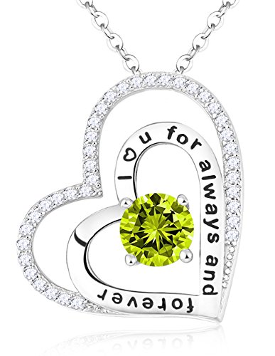 Sterling Silver Peridot Jewelry Birthstone Charm Double Love Heart Necklace Gifts for Woman,18+2''