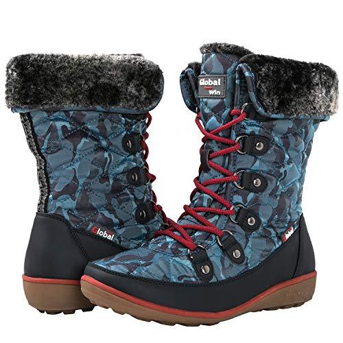 GLOBALWIN Women's Blue Winter Snow Boots 10M US