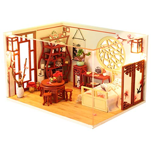 NszzJixo9 DIY Miniature Dollhouse Kit - 3D Wooden House Furniture LED Puzzle Decorate Creative Gifts,Handmade Mini Plus Apartment Home Doll Toys for Children Gift
