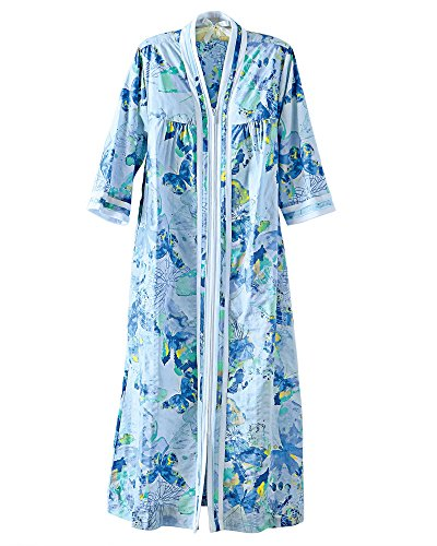 National Plissé Robe, Blue Print, Large - Long (Front Lounger Zip)