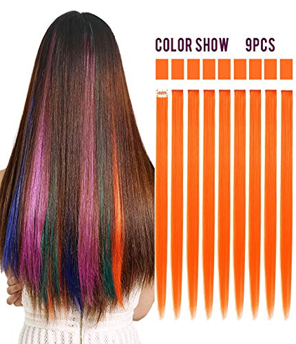 (Rhyme 9 PCS Orange Hairpieces Colored Hair Extensions Clip in/On for Girls and Dolls Hair Accessories Wig Pieces for Kids)