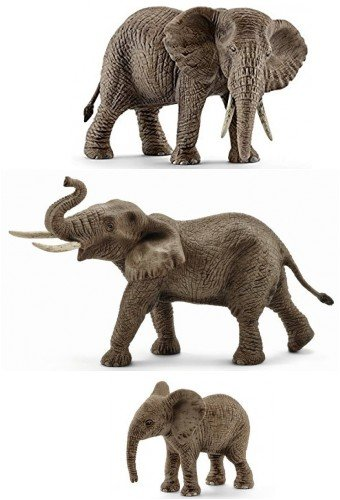 Male Schleich Elephant African - Schleich Wild Animal Elephant Set of 3: Items 14761, 14762, and 14763, Gray African Elephant Female, Calf and Male, Durable, Well-Researched. Bagged and Ready to Give