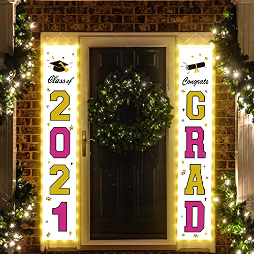FAHZON 2021 Graduation Decorations, Led Light up Congratulations Banner, Class of 2021 Graduation Party Supplies, Congrats Grad Decorations Hanging for Door Porch Yard Sign,Gold & Rose Red.