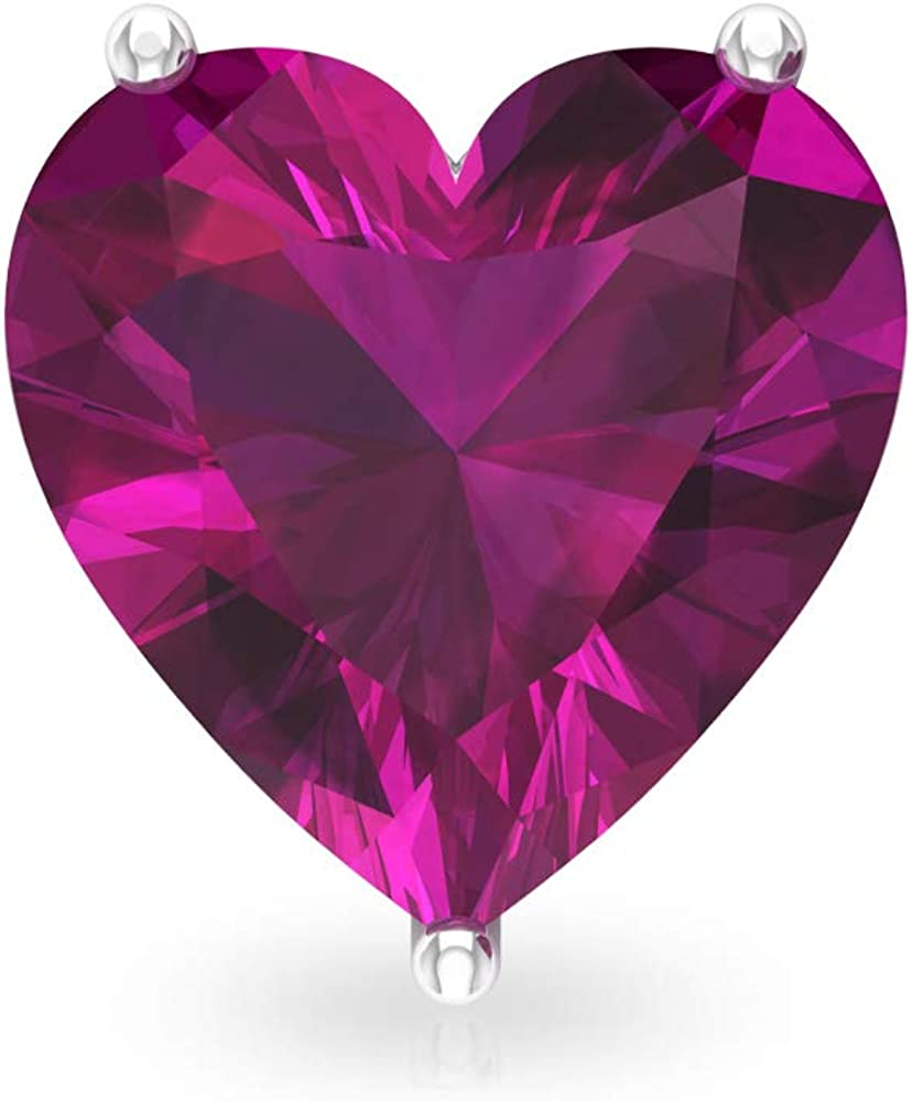 Pendientes de rodolita en forma de corazón de 3 quilates, piedras preciosas, pendientes nupciales, declaración de dama de honor, pendientes vintage de boda, tornillo hacia atrás