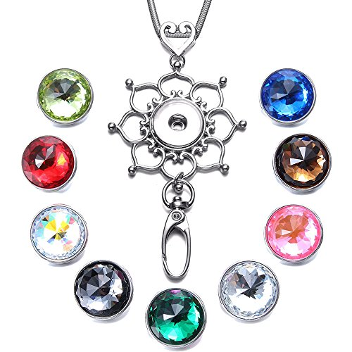 Glass Facet (Soleebee 31.5 inches Stainless Steel Lanyard ID Badge Necklace Bonus 9pcs Facets Crystal Glass Snap Charms (Love Heart Flower))