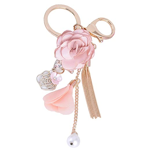 Llavero largo con diseño de flores de rosa para colgar en la ...