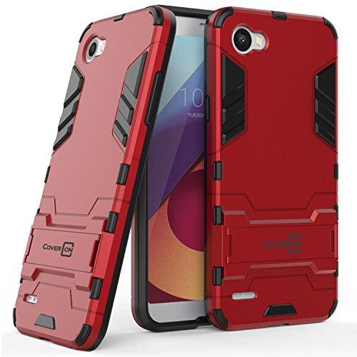 LG Q6 Case, LG Q6 Plus Case, LG Q6a Case, CoverON Shadow Armor Series Modern Style Slim Hard Hybrid Phone Cover with Kickstand Case for LG Q6 / Q6 Plus / Q6a - Red