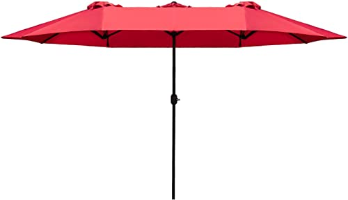 Homall 15 Ft Rectangular Patio Umbrella Double Sided Table Umbrella Large Outdoor Market Twin Umbrella