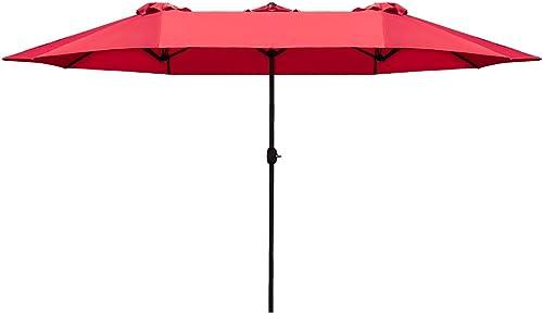 Homall 15 Ft Rectangular Patio Umbrella Double Sided Table Umbrella Large Outdoor Market Twin Umbrella