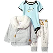 Just Born Baby Boys Skipping Stones 3 Piece Jacket Set, Grey/Blue, 3-6 Months