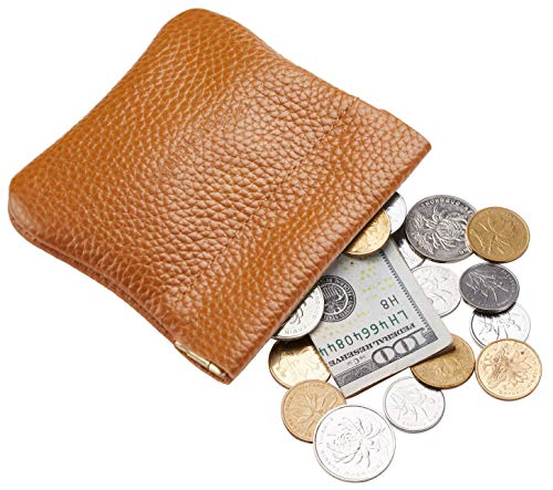Travelambo Leather Squeeze Coin Purse Pouch Change Holder For Men & Women (Pebble Brown ()