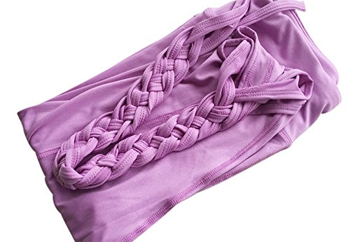 Womens Fashion Running Leggings Yoga Gym Ninth Pants With Ballet Ribbon Design (S, Violet) (Trashy Fancy Dress)